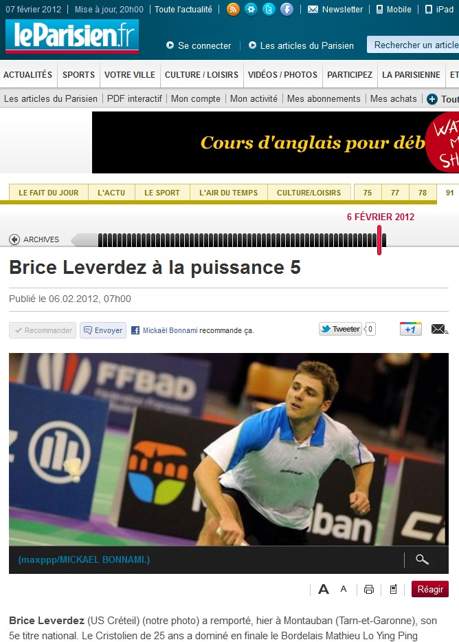 Parution photo dans le journal Le Parisien - Brice Leverdez - badminton