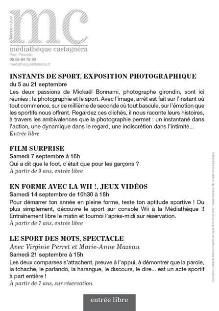 """Affiche de l'exposition """"Instants de sport"""" - Talence - Mickaël Bonnami - Du 5 au 21 septembre 2013"""