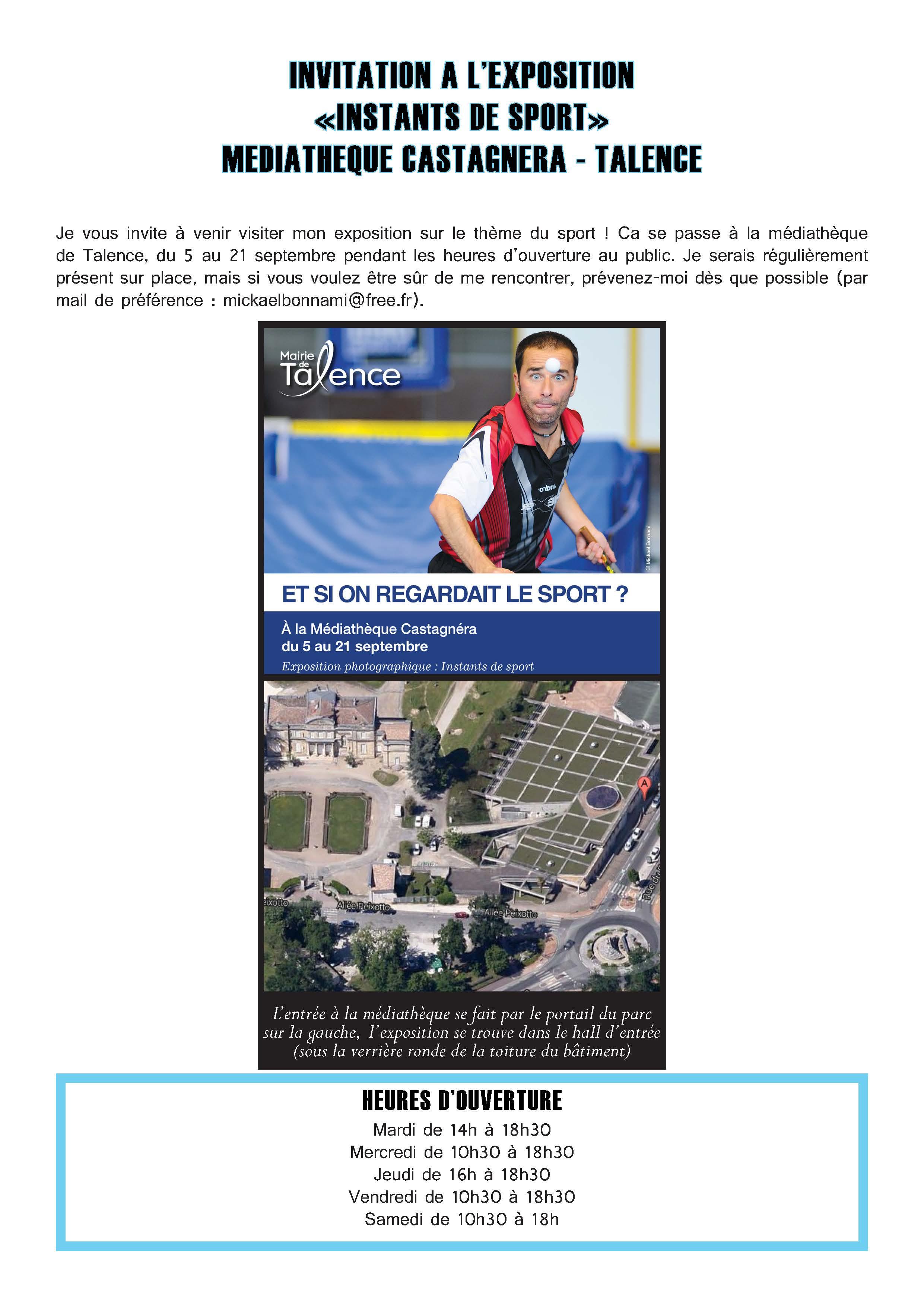 """Invitation pour l'exposition """"Instants de sport"""" - Mickaël Bonnami"""