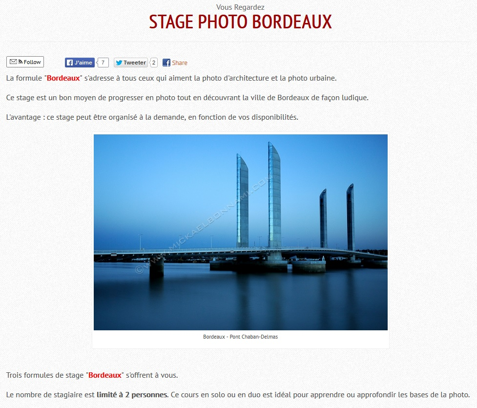 Stage photo Bordeaux