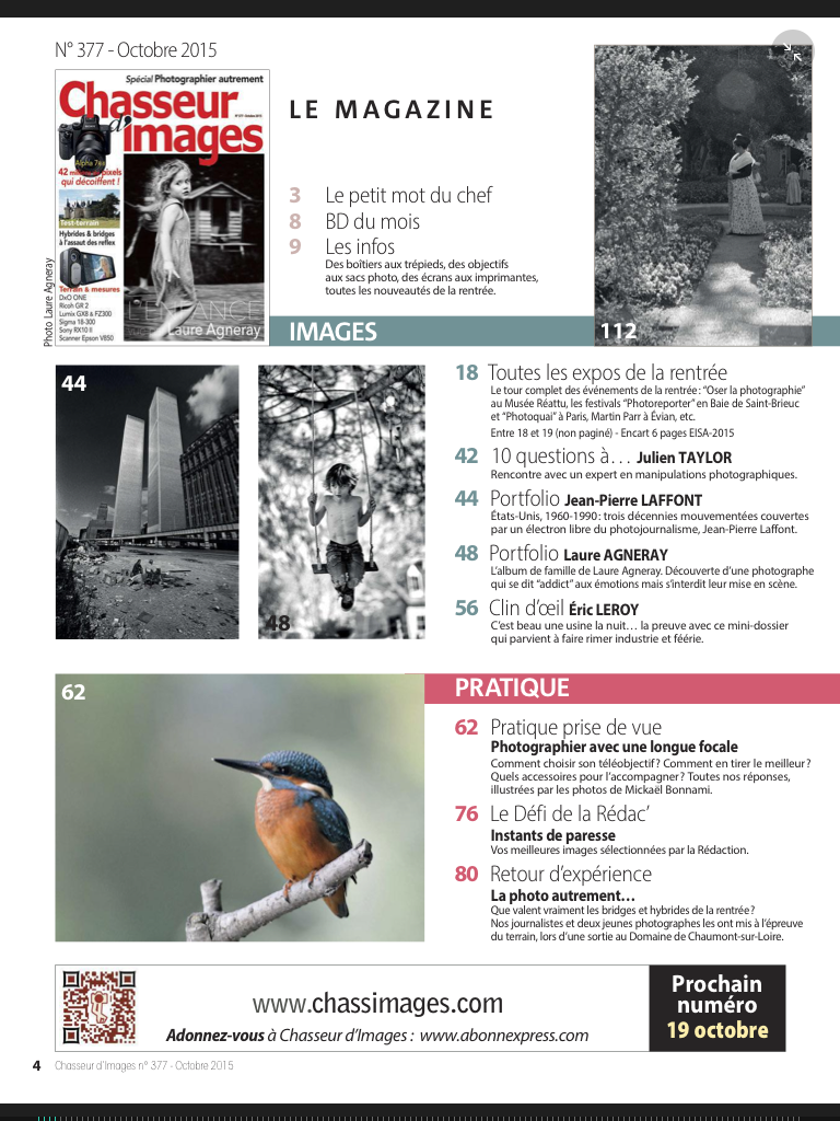 Publication Mickaël Bonnami Photographe - Magazine Chasseur d'Images
