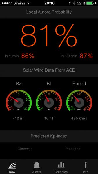 Application aurores boréales - AuroraNow