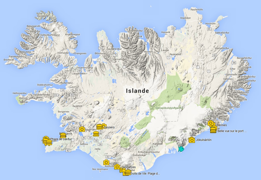 Carte d'Islande - Google Map
