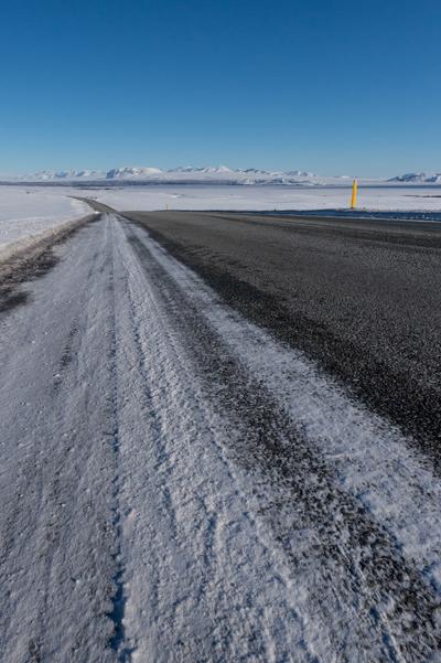 Les routes enneigées d'Islande