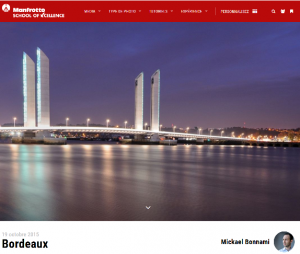 Publication sur le site web Manfrotto School of Excellence - 19 octobre 2015 - Photo du jour