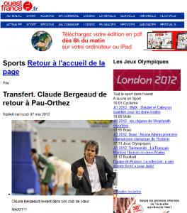 Parution dans le journal Ouest France - 7 mai 2012