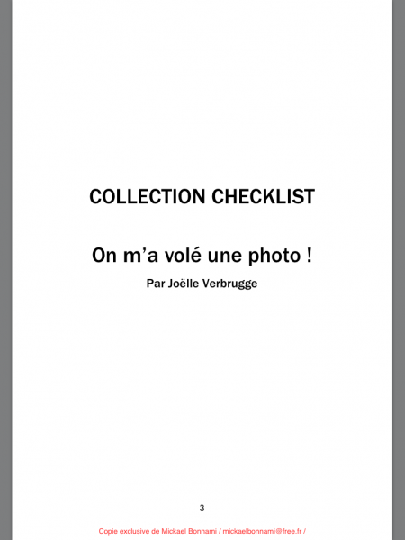 On m'a volé une photo - Checklist - Joëlle Verbrugge