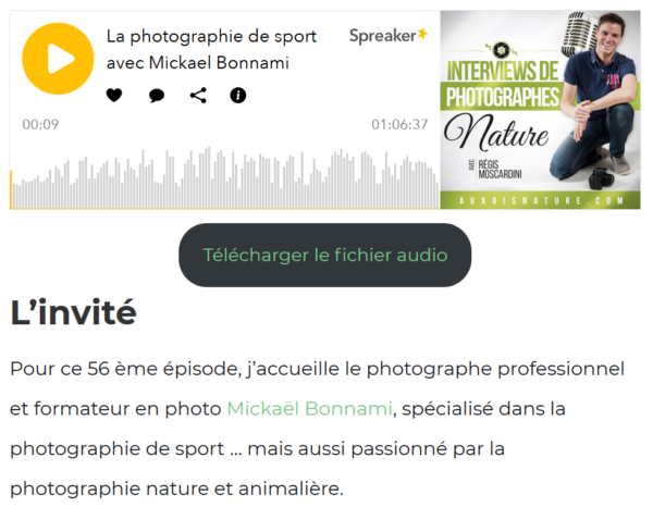 Interview Mickaël Bonnami Photographe - Auxois Nature - Régis Moscardini - Podcast