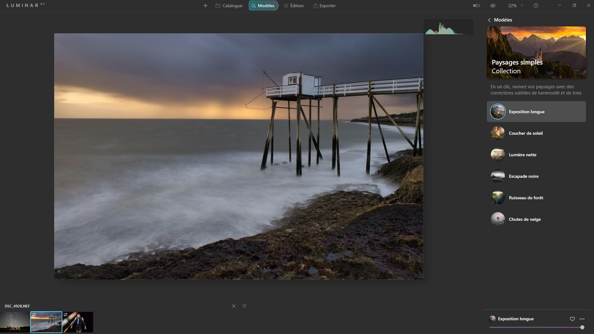 Interface logiciel photo Luminar AI